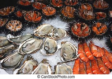 Seafood decoration 2 - Seafood (oysters, shrimps, sea-...