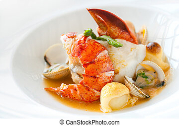 Seafood dish with lobster. - Macro close up of seafood dish ...