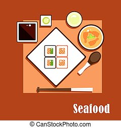 Seafood dishes and sauce of asian cuisine - Asian cuisine...