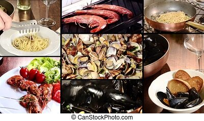 seafood dishes collage - seafood recipes montage