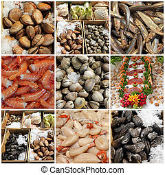 seafood display collage