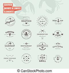 seafood, etiketten, set