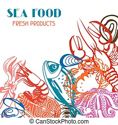 seafood., fish, 貝, 甲殻類, イラスト, 様々, 背景