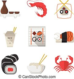 Seafood flat color icons vector collection
