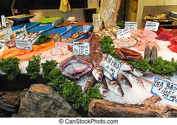Seafood - Fresh seafood at fish market stall