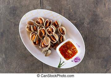 seafood, gekookt, cockles