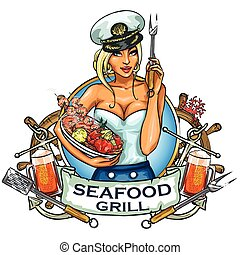 Seafood Grill label design with ribbon banner and sample...