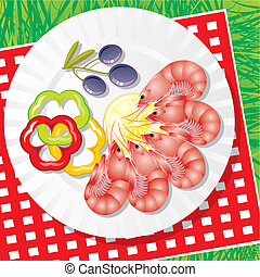 seafood, groentes