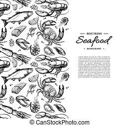 Seafood hand drawn vector framed illustration. Crab,...