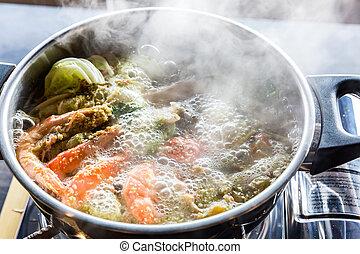 Seafood hot pot - Seafood spicy hot pot crab prawn fish ...