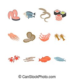 Seafood icon set isolated on white