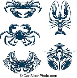Seafood icon set with crab and lobster - Crab and lobster...