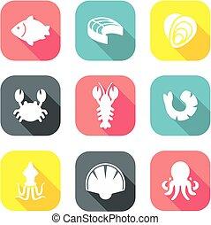 Seafood Icons Flat Design 1