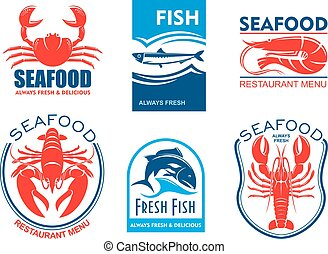 Seafood icons. Fresh fish restaurant menu