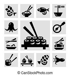 seafood icons - Seafood icon set