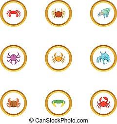 Seafood icons set, cartoon style