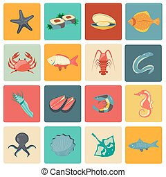 Seafood icons set flat - Seafood icons flat set with...