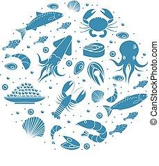 Seafood icons set in round shape,silhouette. Sea food collection isolated on white background. Fish products, marine meal design element. Vector illustration.