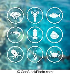 Collection of white seafood icons in flat style on blur background