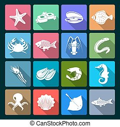 Seafood icons set white - Seafood icons white set with...