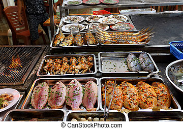seafood in night market in Phu Quoc Island, in Vietnam