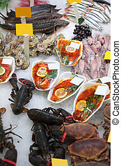 Seafood in shop