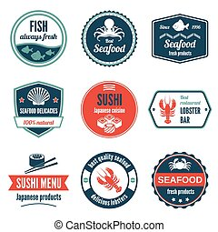 Seafood label set