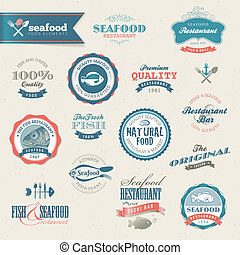 Seafood labels and elements - Set of vector seafood labels...