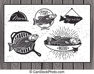 Seafood labels, fish packaging design