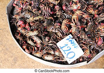 Seafood market in Asia