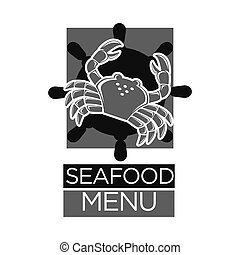 Seafood menu black and white emblem with crab