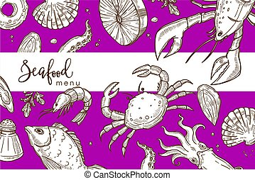 Seafood menu bright purple cover with endless texture