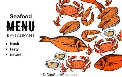 Seafood menu composition with red fish steak, oysters and crabs