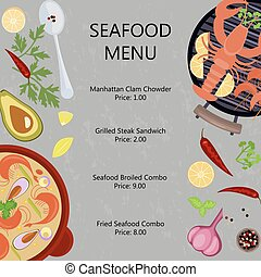 Seafood menu flat design