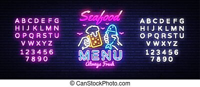 Seafood Menu Neon Design Vector. Seafood Menu neon sign, design template, modern trend design, night signboard, night bright advertising, light banner, light art. Vector. Editing text neon sign