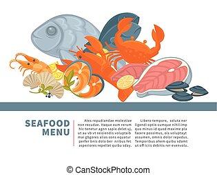 Seafood menu poster vector design for fresh fish gourmet sea food restaurant