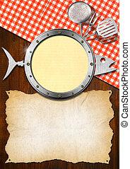 Seafood Menu with Metal Porthole - Restaurant seafood menu ...