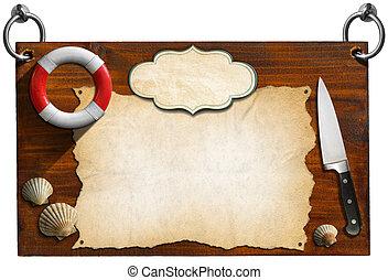 Seafood Menu - Wooden Signboard