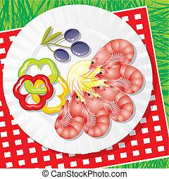 seafood, met, groentes