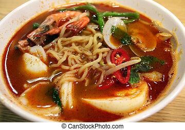 Seafood noodles - A bowl of asian seafood soup noodles