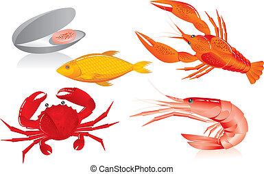 seafood:, oester, garnaal, rivierkreeft, krab, en, visje