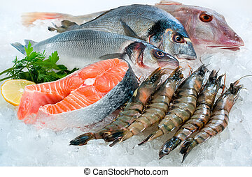 Seafood on ice at the fish market