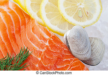 Seafood on Ice - Raw seafood on a bed of crushed ice,...