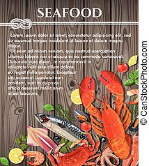 Seafood on wooden background - Vector illustration of fresh...