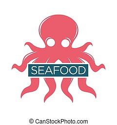 Seafood or fresh fish food market vector isolated icon