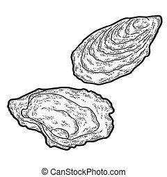 Seafood, oyster. Sketch scratch board imitation. Black and white. Engraving vector illustration.