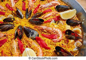 Seafood paella from Spain Valencia recipe