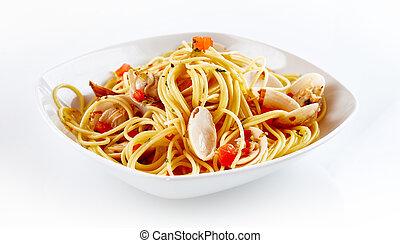 Seafood Paella Pasta Dish on White Plate
