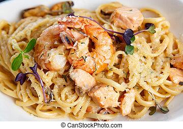 Seafood pasta - Creamy seafood pasta with salmon, shrimp, ...