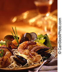 Plate of seafood pasta